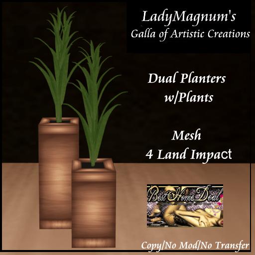 BHD LadyMagnums Dual Striped Planters w Plant 4LI - Teak