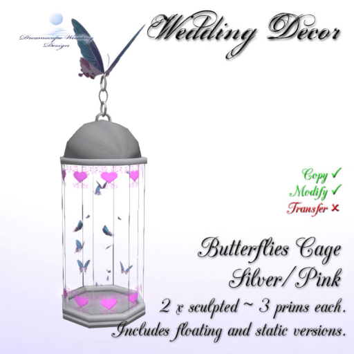 Butterflies Cage - Silver_Pink - incl. static & floating cages