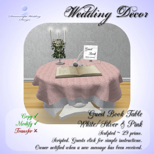Guest Book - White_Silver - Pink - 29 prims