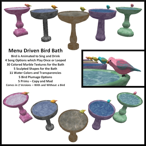 Menu Driven Animated Bird Bath