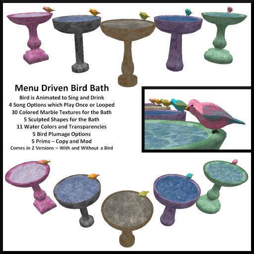 Menu Driven Animated Bird Bath