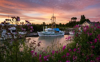Download wallpapers White boats, dock, sunset, rose bushes, Marinas, Canada for desktop free ...