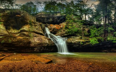 Water Fall Wallpaper Hd For Desktop Free Download Download Wallpapers Hocking Hills State Park Hdr Forest