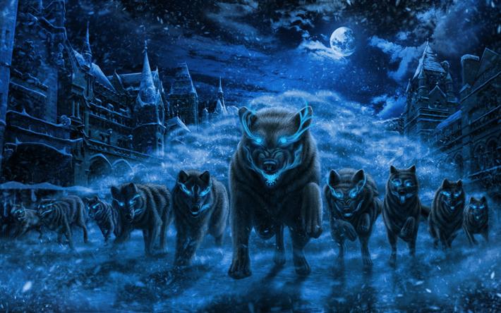 3d Wolves Wallpapers Herunterladen Hintergrundbild W 246 Lfe Nacht Kunst Winter