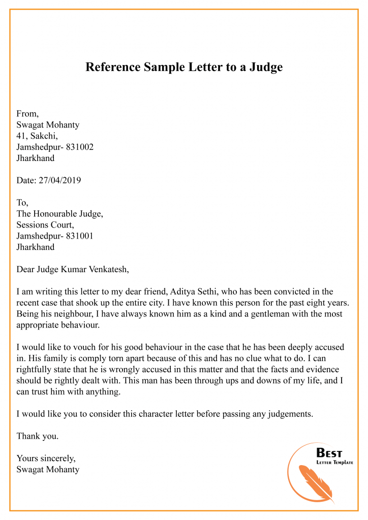 how to write a letter to a judge template