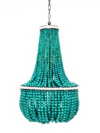 Turquoise Wood Bead Chandelier | Light Fixtures Design Ideas