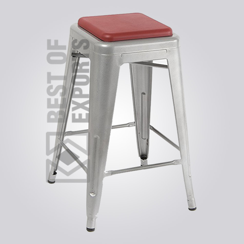Bureau Tolix Tolix Grey Bar Stool With Leather Seat Bestofexports