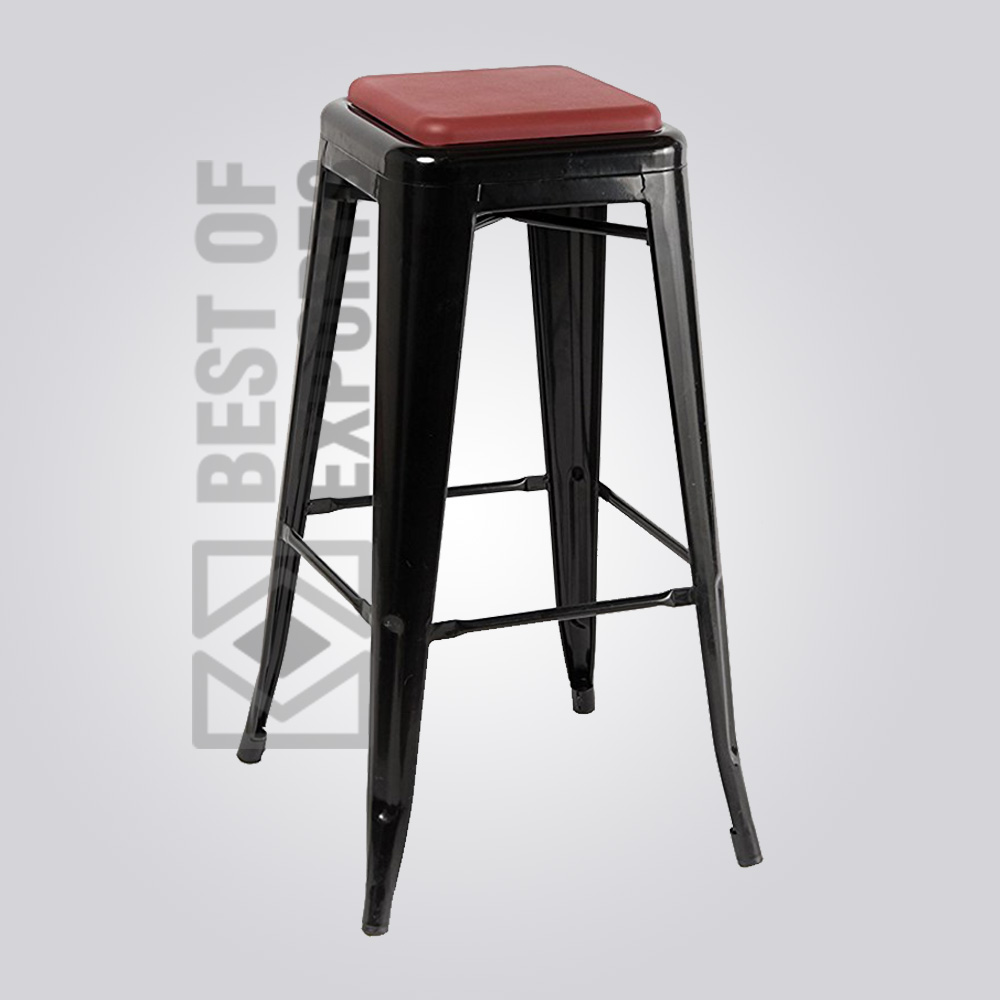 Bureau Tolix Tolix Black Bar Stool With Leather Seat Bestofexports