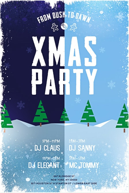 Merry Xmas Party Free Flyer Template - Download Flyer for Christmas - winter flyer template