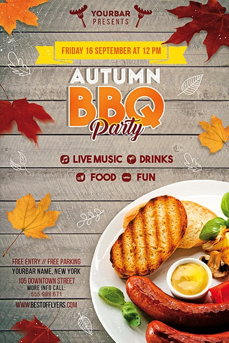 Autumn BBQ Party Free Flyer Template Best of Flyers - bbq flyer
