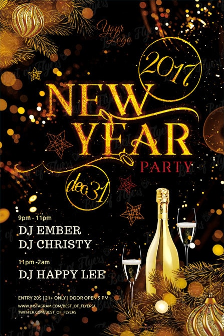 New Year Party Free PSD Flyer Template for elegant and classy Events - free new years eve flyer template