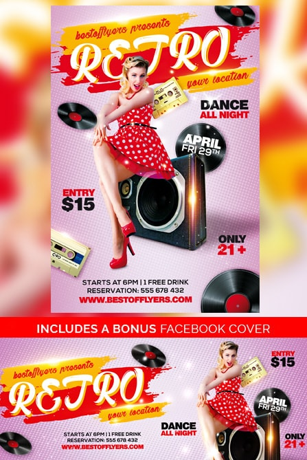 Retro Party Free Flyer Template for old school music party events! - retro flyer template
