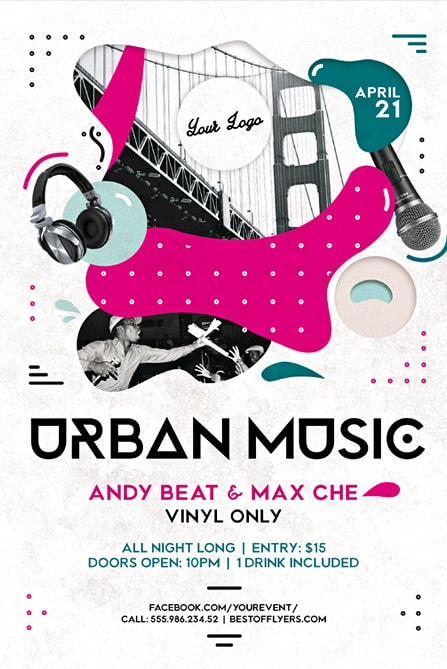 Urban Music Party Free Flyer and Poster Template for Club Party Events - music flyer template