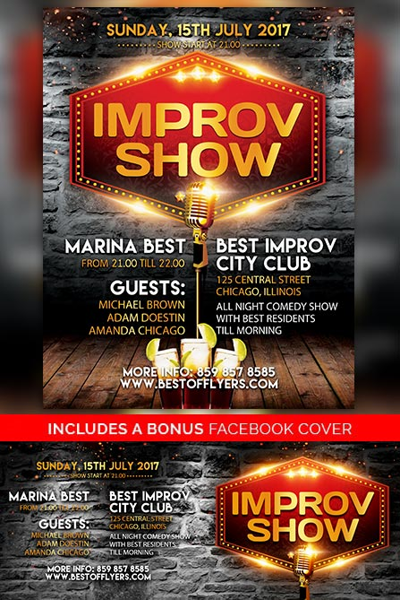 Improv Show Free Poster and Flyer Template for Standup Comedy Events - comedy show flyer template
