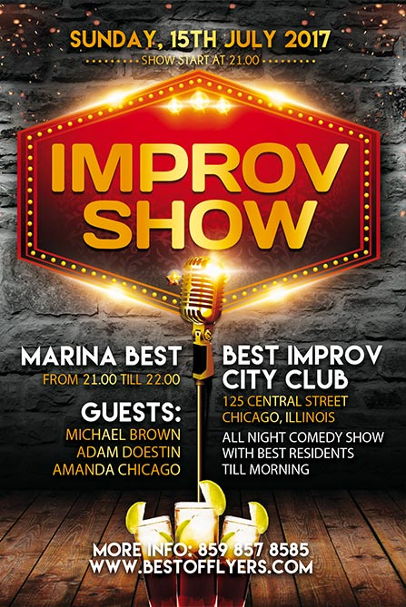 Improv Show Free Poster and Flyer Template for Standup Comedy Events
