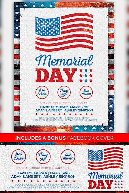 Memorial Day Free Poster Template - Freebie for Independence Day