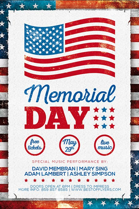 Memorial Day Free Poster Template - Freebie for Independence Day - independence day flyer