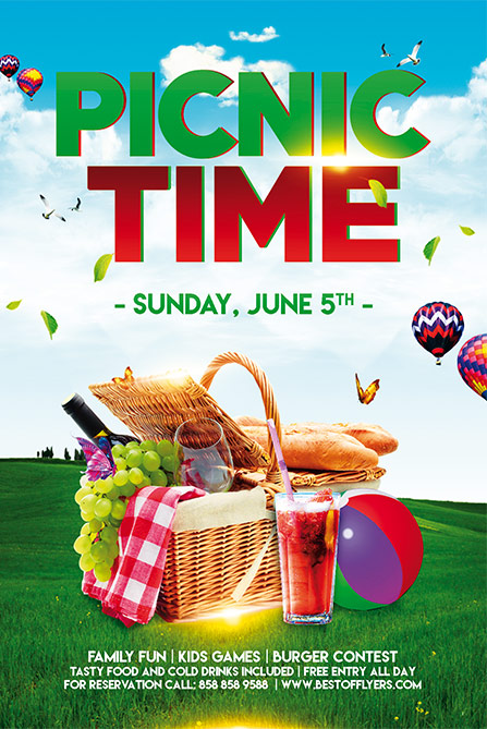 Download Free Picnic Time Free Poster and Flyer Template for Photoshop - picnic flyer template