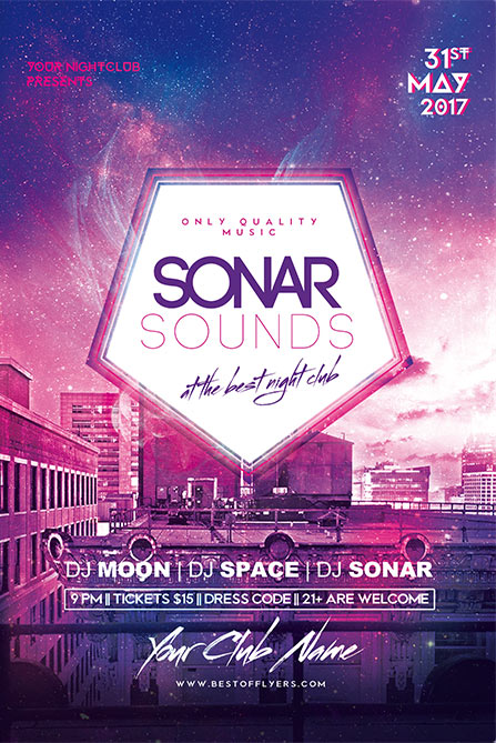 Electro Flyer Templates Sonar Sounds Free Poster and Flyer Template