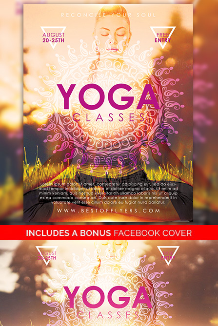 Download the Yoga Classes Free Poster and Flyer Template for Photoshop - yoga flyer