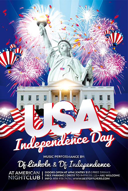 Independence Day Free Poster Template for 4th of July Celebration Events