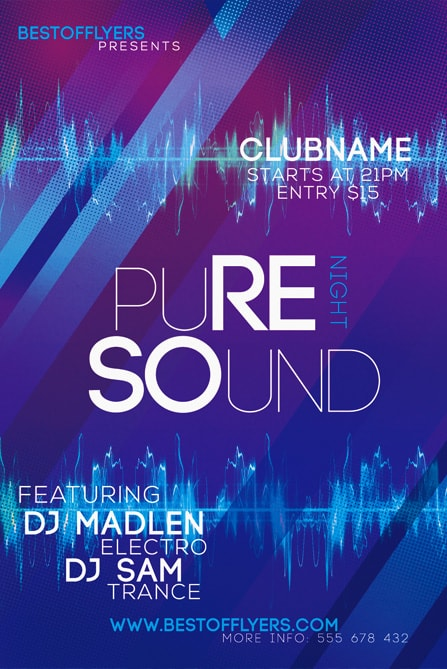 Pure Sounds Night Free Flyer Template - Free Electro Flyer Templates