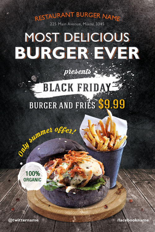 Burger Day Restaurant Free Flyer Template for Fast Food Restaurants