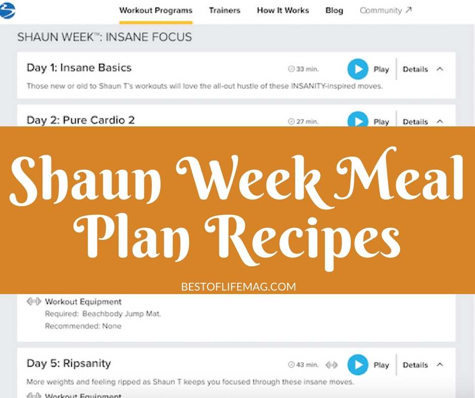 Shaun Week Meal Plan Recipes - The Best of Life Magazine - weekly healthy meal plan
