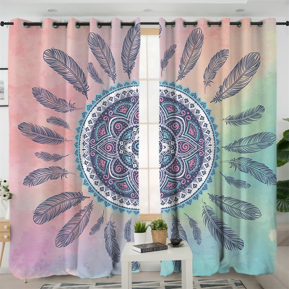 Pink Living Room Curtains Mandala Pink And Blue Native American Design Window Living Room Curtain