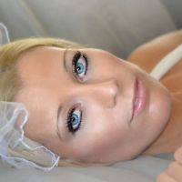 Pretty Blonde Woman Wedding Vail Boudoir by Brett Photography