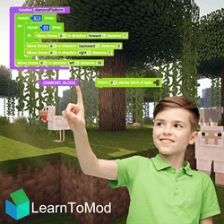 Boy Modding Minecraft regulating a LearnToMod software