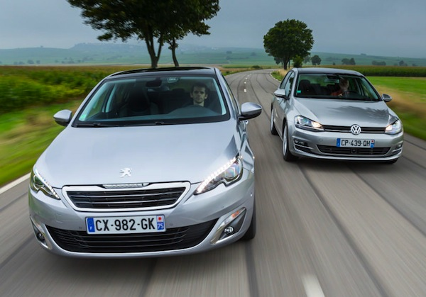 Peugeot 308 VW Golf Netherlands May 2015. Picture courtesy of largus.fr