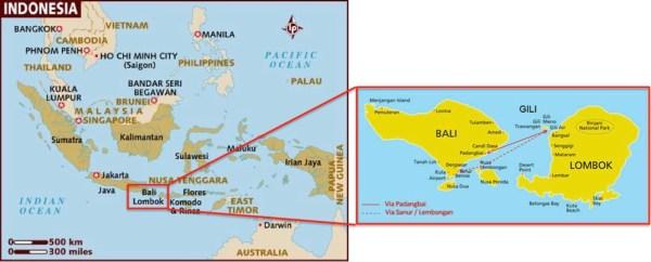 Indonesia Bali Gili map
