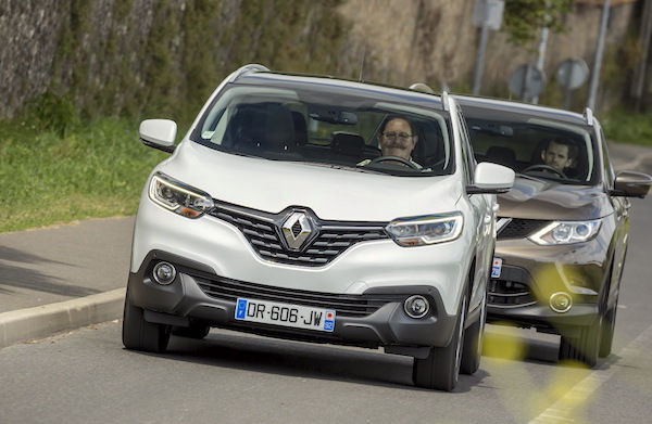 Renault Kadjar Nissan Qashqai Europe March 2016. Picture courtesy largus.fr