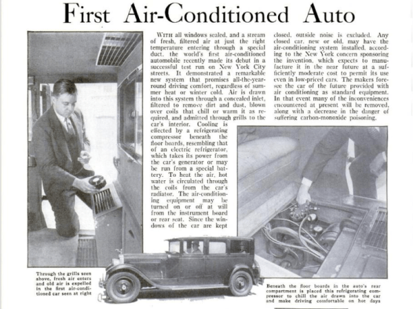 First air-conditioned auto