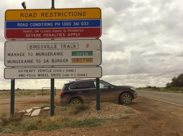 Haval H8 Birdsville Track road sign