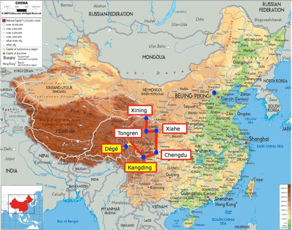 China map with Chola Pass