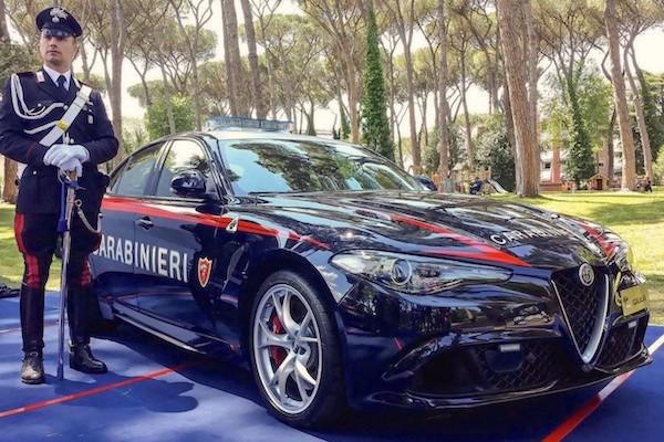 Alfa Romeo Giulia Carabinieri Italy August 2016. Picture courtesy slashgear.com