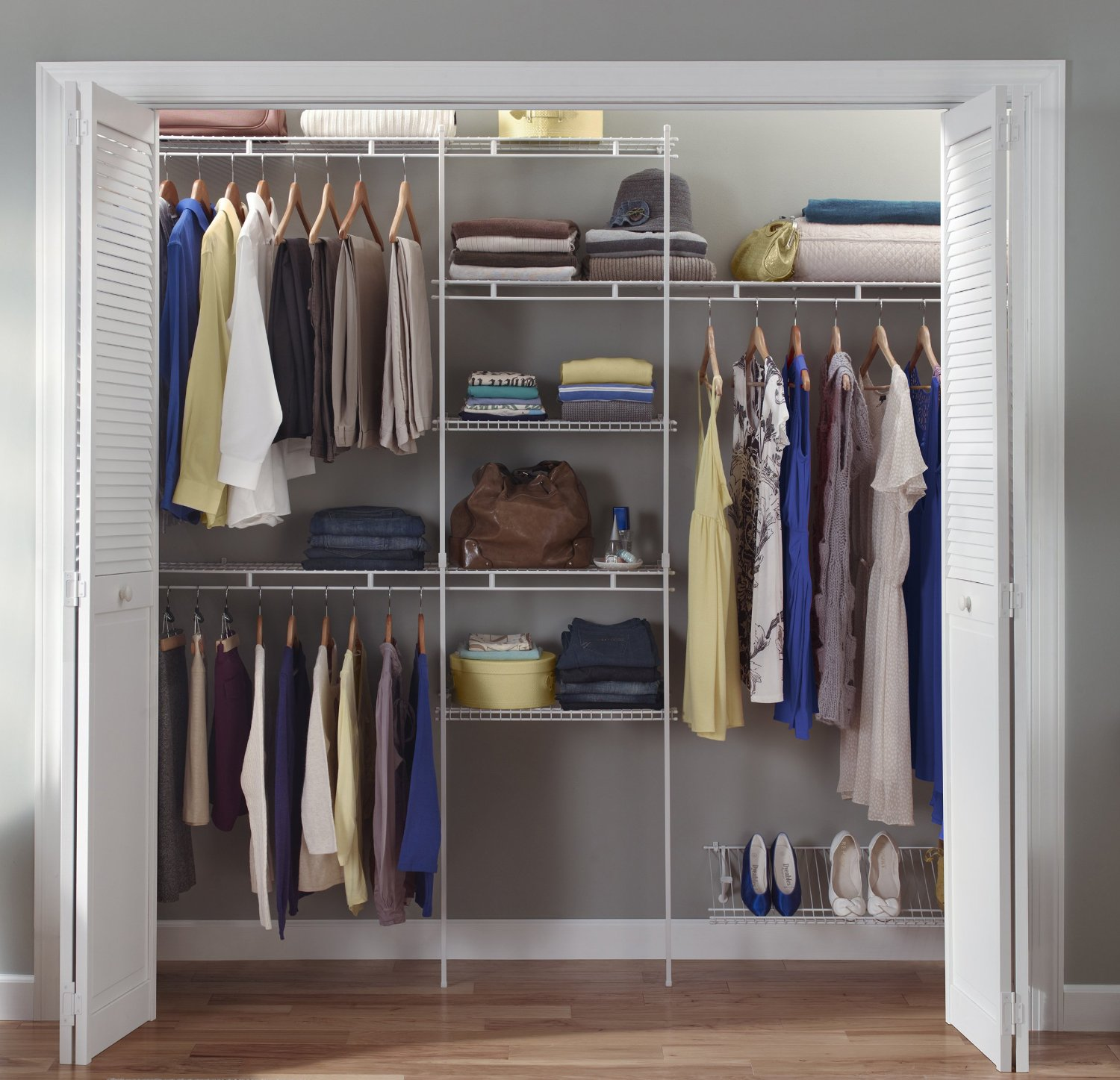 Closet Shelves Closet Organizer Kit White Color 5 Feet To 8 Feet Closetmaid