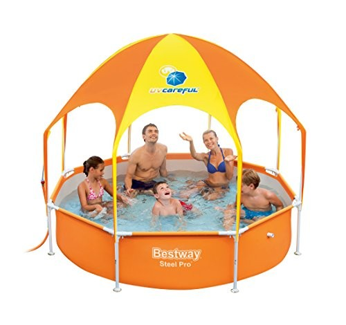 Bestway Steel Pro Frame Zwembad 244 X 61 Cm Bestway Splash Frame Pool In Shade, With A Sun Canopy And