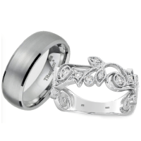 His And Hers Couple Rings Set - Titanium /925 Sterling ...