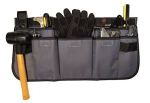 Galatia Gear Tool and Utility Waist Apron- Waterproof 600D Polyester Material, Adjustable Waist Strap, Gray/Black