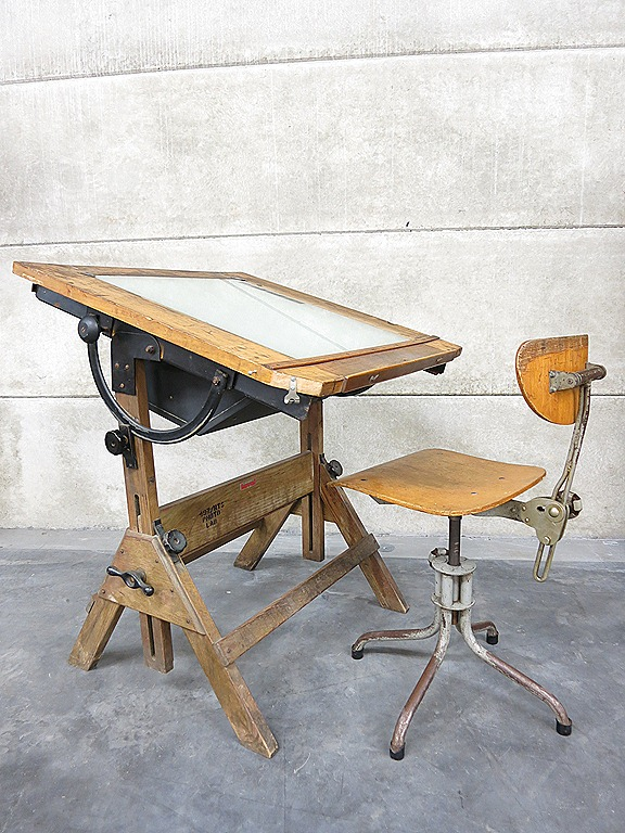 Lichtbak Verlichting Industrial Steampunk Lighted Drafting Table Hamilton