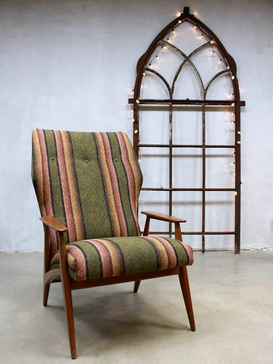 Velours Bank Vintage Danish Wingback Chair, Vintage Design Fauteuil Deense