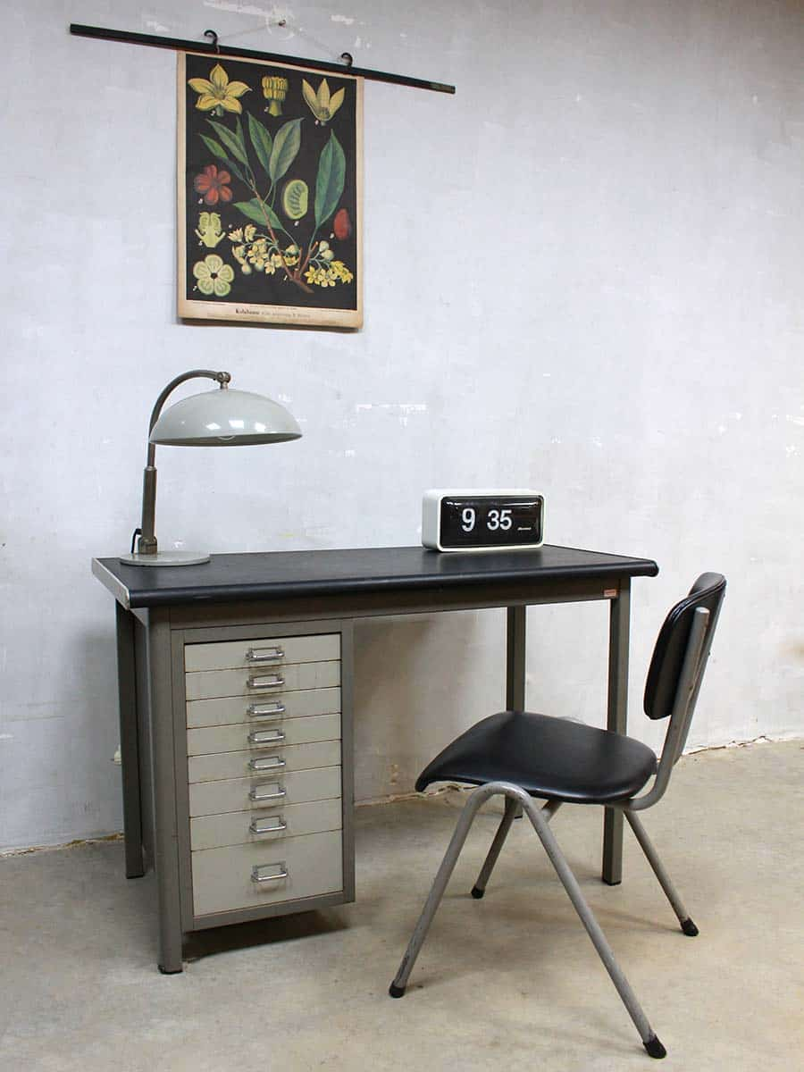 Vintage Industrieel Industrial Vintage Writing Desk Backfield Industrieel Vintage