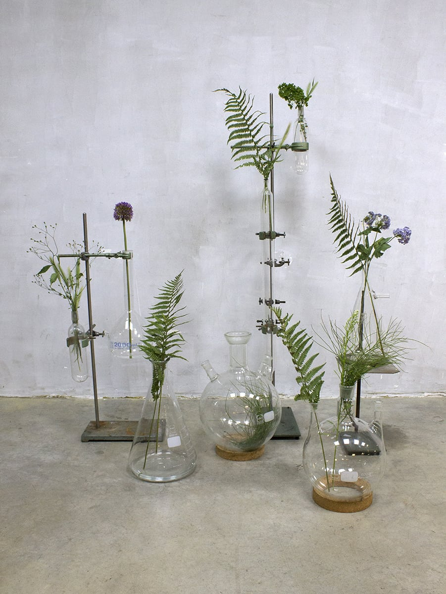 Takken In Vaas Vintage Industrial Laboratory Stands Vases Glass