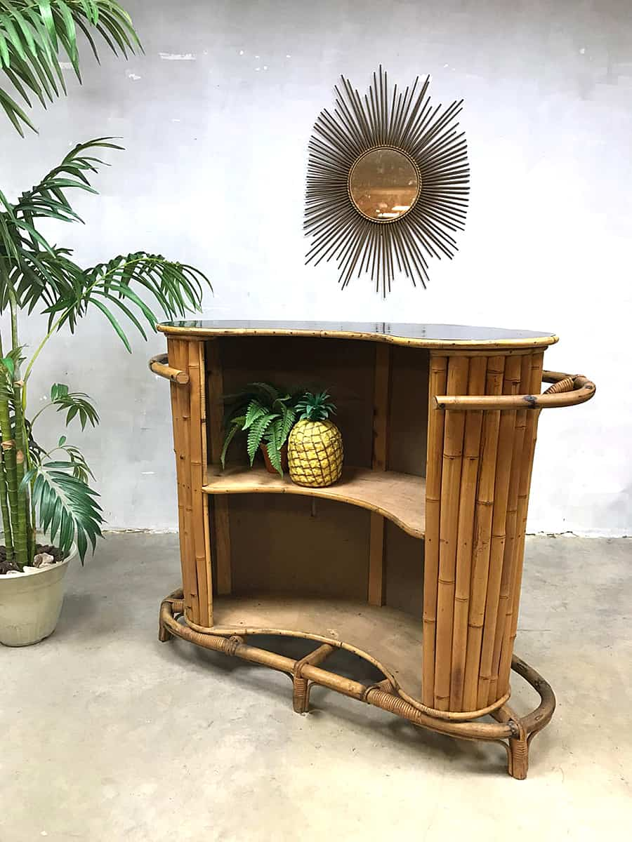 Bar Met Verlichting Vintage Bamboe Rotan Cocktail Bar Bamboo Rattan Tiki Bar
