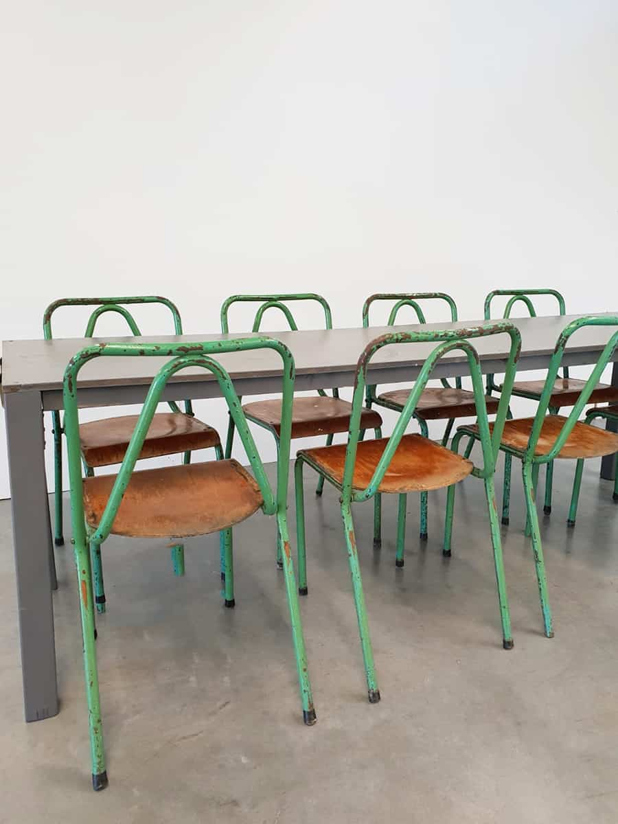 Vintage Industrieel Vintage Industrial Tubax Chairs Stoelen Industrieel Tropical Green