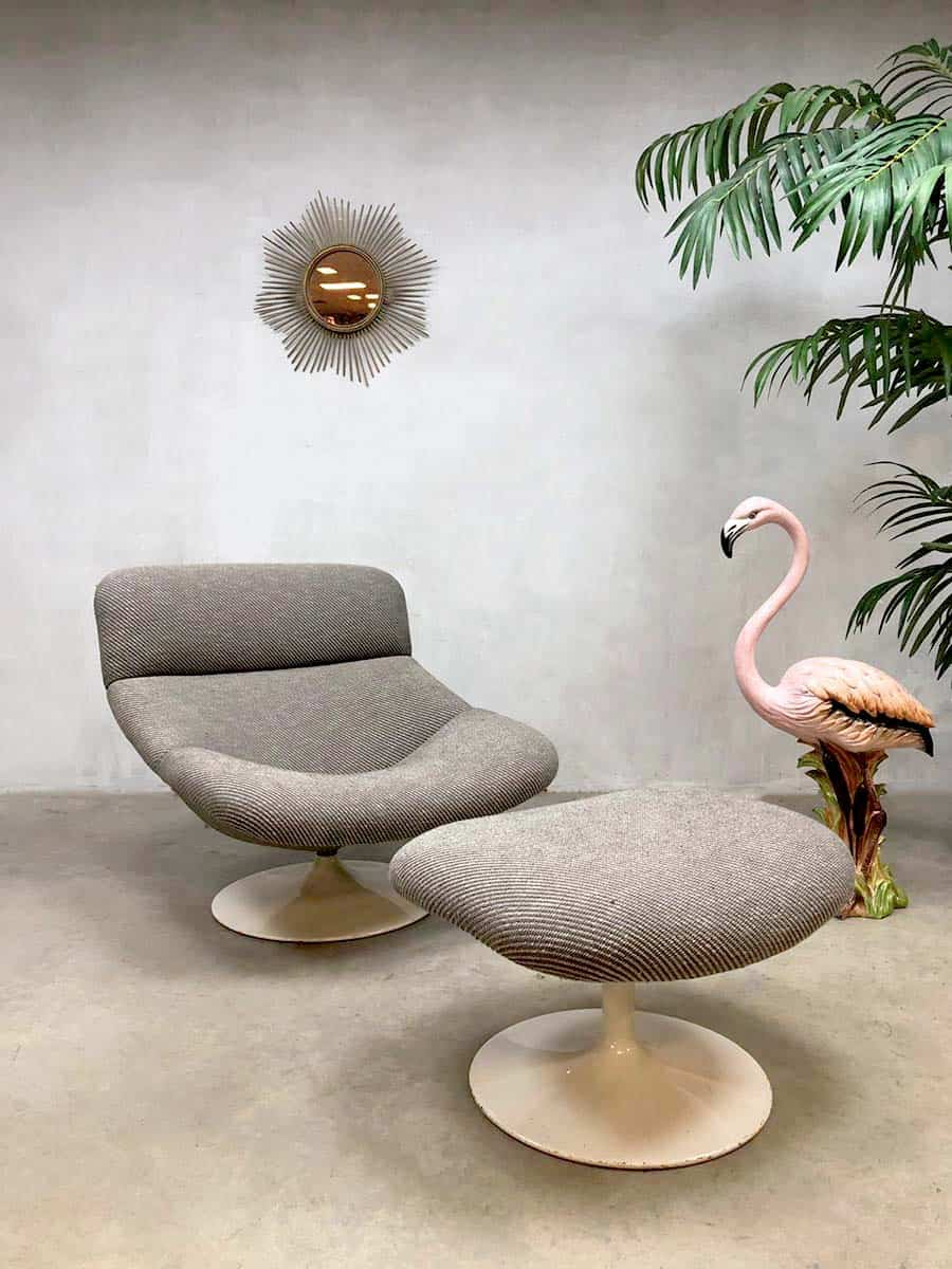 Antraciet Fauteuil Vintage Lounge Chair Geoffrey Harcourt Artifort Lounge
