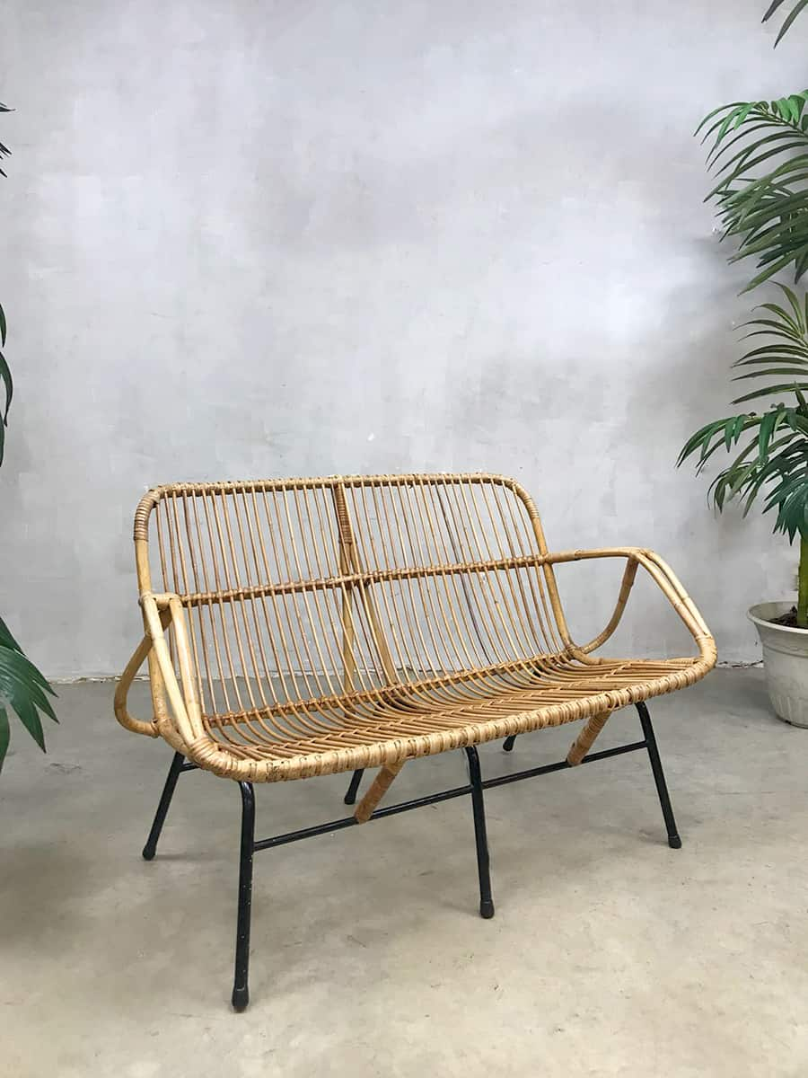 Bank Rattan Vintage Design Rattan Sofa Bench Rotan Bank Rohe Noordwolde